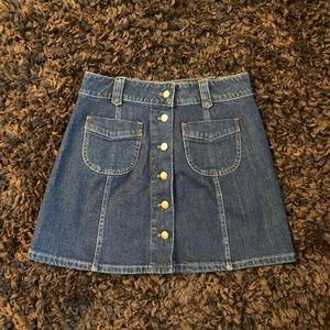 Madewell Button Up Denim Mini Skirt